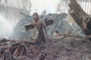 Picture of Cross found after the 9/11 attack at Ground Zero. Picture taken by Anne Bybee  3 weeks later.